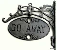 Cast Iron Welcome and Go Away Sign Swivel Plaque