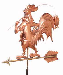 Fishing Rooster Weathervane