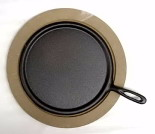 Cast Iron Skillet with Wooden Base