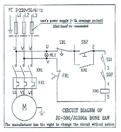Model Wiring Diagram for Floor Model Bone Saw