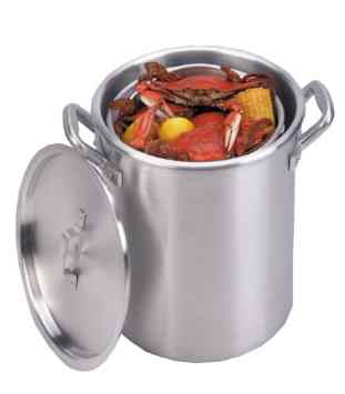 60qt Aluminum Boiling Pot with Basket and Lid