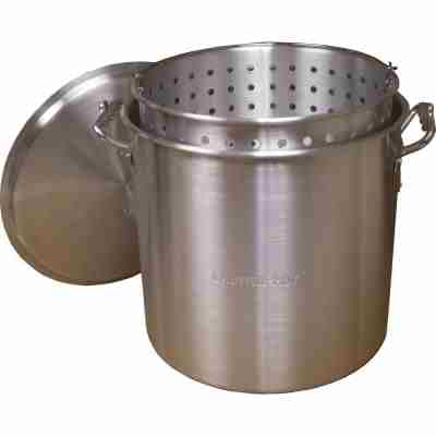 120qt Aluminum Boiling Pot with Basket and Lid
