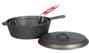 4 QT. Cast Iron Chicken Fryer w/ Basket