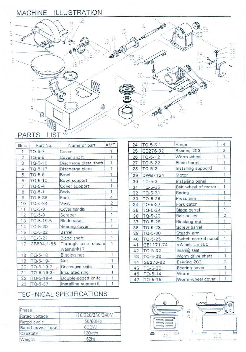 5 l. Bowl Chopper Parts Manual