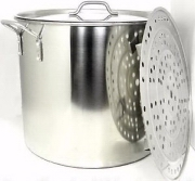 40Qt. Stainless Stockpot w/ Rack & Lid