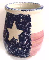 Texas Flag Utensil Crock Stoneware Kitchen Holder