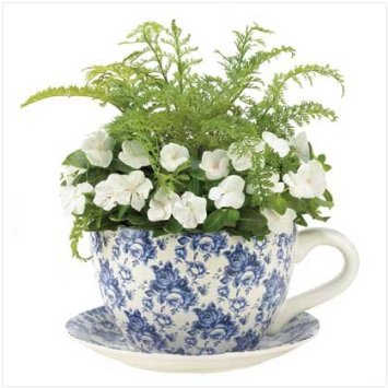Blue Floral Planter Tea Cup