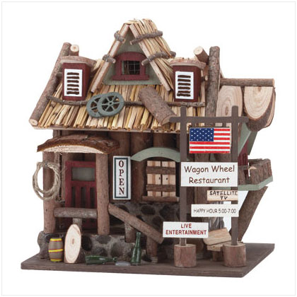 Wagon Wheel Resautrant Birdhouse