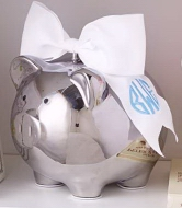 Silver Piggy Bank With Bow