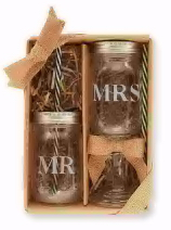 Mr. & Mrs. Preserve Jar Glass Set