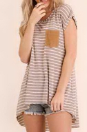 Brown & White Striped Hi Lo Split Back Top