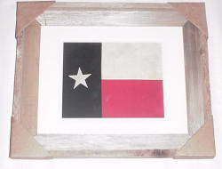 Texas Flag Framed In Weathered Wood Barnwood Frame