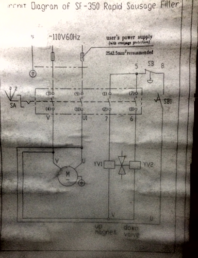 Wiring diagram for old hydraulic sausage stuffers